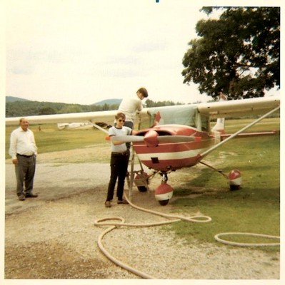 Student Pilot Glenn Kane at Stormville in 1968 with 'Mac' MacAdams   supervising.